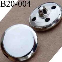 bouton 20 mm en métal couleur chromé accroche avec un anneau ou 4 trous diamètre 20 millimètres