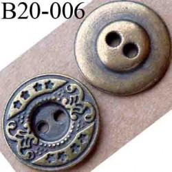 bouton 20 mm métal aspect ancien 2 trous diamètre 20 mm
