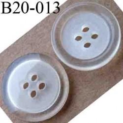 bouton 20 mm couleur blanc et transparent 4 trous diamètre 20 mm