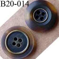 bouton 20 mm couleur marron marbré serti de métal  4 trous diamètre 20 mm