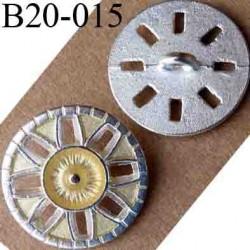 bouton 20 mm métal couleur argenté accroche un anneau diamètre 20 mm