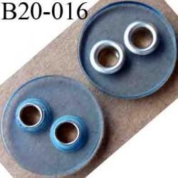 bouton 20 mm couleur bleu transparent 2 trous sertis de métal  diamètre 20 mm