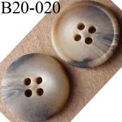 bouton 20 mm couleur marron beige marbré 4 trous diamètre 20 mm