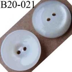 bouton 20 mm couleur blanc nacré 2 trous diamètre 20 mm