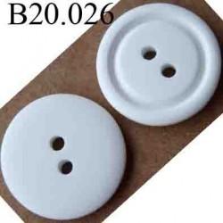bouton 20 mm couleur blanc 2 trous diamètre 20 mm