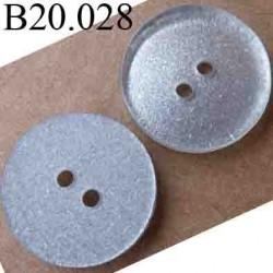 bouton 20 mm couleur transparent fond argenté 2 trous diamètre 20 mm
