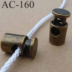 arrêt cordon stop cordon en métal  à ressort couleur bronze de taille 18 mm x 10 mm  vendu à l'unité