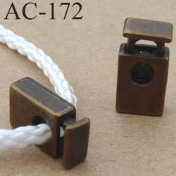 arrêt cordon stop cordon rectangulaire en métal  à ressort couleur bronze de taille 18 mm x 10 mm  vendu à l'unité