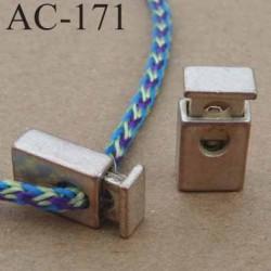 arrêt cordon stop cordon rectangulaire en métal  à ressort couleur argenté patiné de taille 18 mm x 10 mm  vendu à l'unité