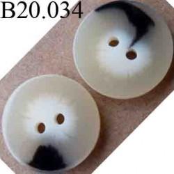 bouton 20 mm couleur beige marbré 2 trous diamètre 20 mm