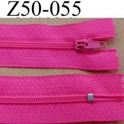 fermeture éclair longueur 50 cm couleur rose fushia non séparable largeur 2.5 cm glissière nylon largeur 4 mm