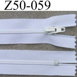 fermeture éclair longueur 50 cm couleur blanc non séparable largeur 2.5 cm glissière nylon curseur métal largeur 4 mm