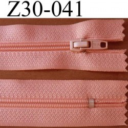 fermeture éclair longueur 30 cm couleur rose saumon non séparable zip nylon largeur 2,5 cm largeur du zip nylon 4 mm