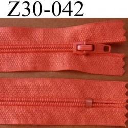 fermeture éclair longueur 30 cm couleur rose orangé non séparable zip nylon largeur 2,5 cm largeur du zip nylon 4 mm