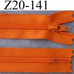 fermeture éclair YKK longueur 20 cm couleur orange non séparable largeur 2.5 cm glissière nylon largeur du zip 4 mm