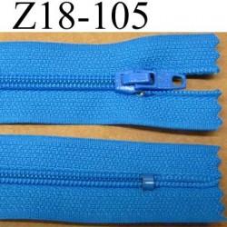 fermeture éclair longueur 18 cm couleur bleu non séparable largeur 2.5 cm glissière en nylon largeur 4 mm
