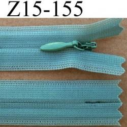 fermeture éclair YKK invisible verte longueur 15 cm couleur vert non séparable largeur 2.2 cm glissière nylon largeur 4 mm