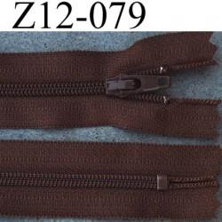 fermeture éclair YKK longueur 12 cm largeur 2.5 cm couleur marron non séparable glissière zip nylon largeur 4 mm