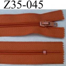 fermeture éclair longueur 35 cm couleur orangé rouille non séparable zip nylon largeur 2,5 cm largeur du zip nylon 4 mm