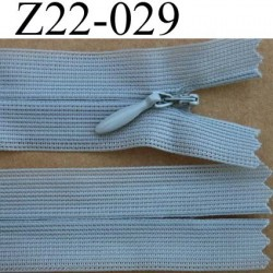 fermeture éclair invisible longueur 22 cm couleur gris clair non séparable largeur 2.2 cm glissière nylon largeur 4 mm