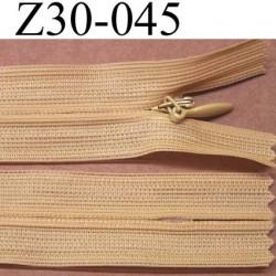 fermeture éclair invisible beige longueur 30 cm couleur blanc non séparable largeur 2.2 cm glissière zip nylon largeur 4 mm