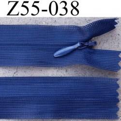 fermeture éclair invisible longueur 55 cm couleur bleu non séparable largeur 2.5 cm glissière nylon largeur 4 mm