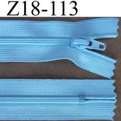 fermeture éclair longueur 18 cm couleur bleu ciel non séparable largeur 2.5 cm glissière nylon largeur du zip 4 mm