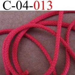 cordon en synthétique avec lien 100% coton à l'intérieur très très solide couleur rose rouge corail diamètre 4 mm vendu au mètre