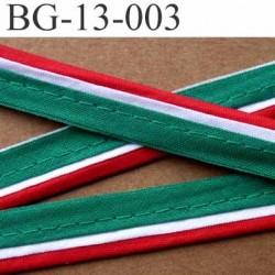 biais galon ruban passe poil en coton couleur rouge vert blanc avec cordon en coton très solide largeur 13 mm vendu au mètre