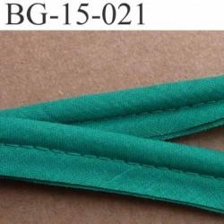 biais  ruban passe poil coton couleur vert  avec gros cordon de 6 mm en coton très très solide largeur 13 mm vendu au mètre