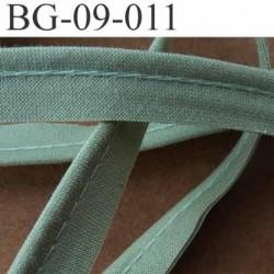 biais galon ruban passepoil en coton couleur vert avec cordon coton très solide largeur 9 mm vendu au mètre