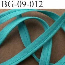 biais galon ruban passepoil en coton couleur vert lagon avec cordon coton très solide largeur 9 mm vendu au mètre