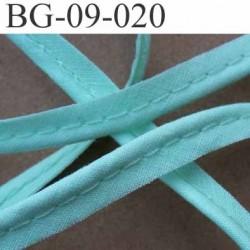 biais galon ruban passepoil en coton couleur vert clair avec cordon coton très solide largeur 9 mm vendu au mètre