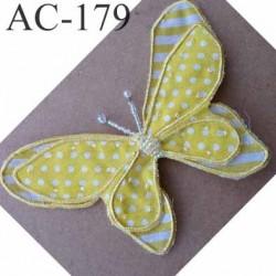 broche PAPILLON en tissu et perles couleur jaune armature fil de fer