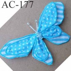 broche PAPILLON en tissu et perles couleur bleu armature fil de fer