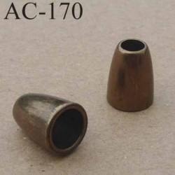 arrêt cordon embout perle métal couleur bronze  pour cordon de 4 mm de diamètre vendu à l'unité