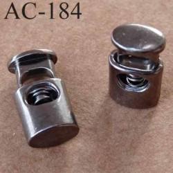 arrêt cordon stop cordon oval  en métal  à ressort couleur acier chromé de taille 20 mm x 11 mm  vendu à l'unité