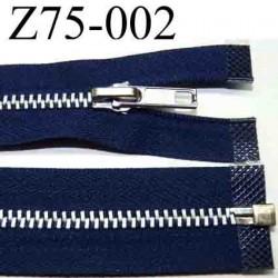 fermeture zip à glissière  longueur 75 cm couleur bleu séparable zip métal largeur 3 cm largeur du zip 6 mm curseur métal
