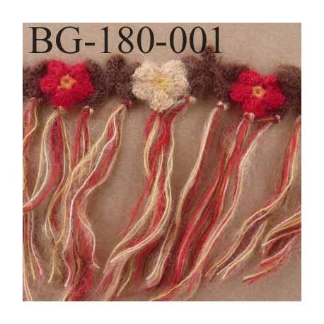 biais galon laine avec franges hauteur 180 mm diamètre des fleurs 30 mm vendu au mètre