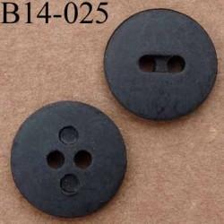 bouton diamètre 14 mm couleur noir mat  2 trous
