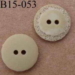 bouton diamètre 15 mm couleur beige taupe mat  2 trous