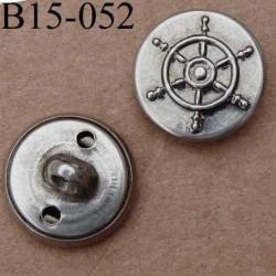 bouton métal 15 mm style marin couleur mat accroche avec un anneau diamètre 15 millimètres