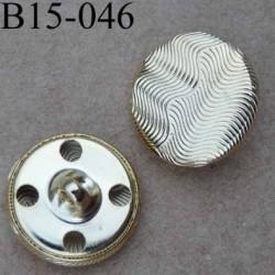 bouton 15 mm en métal  doré accroche avec un anneau ou 4 trous diamètre 15 millimètres