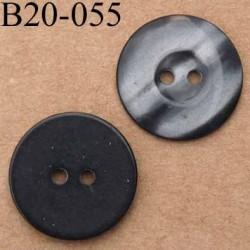 bouton 20 mm couleur gris dégradé brillant 2 trous diamètre 20 mm