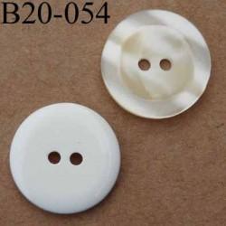 bouton 20 mm couleur i voire nacré et blanc 2 trous diamètre 20 mm