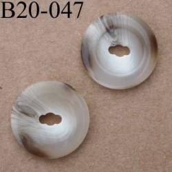 bouton 20 mm couleur marron marbré  1 trou diamètre 20 mm