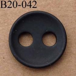bouton 20 mm 2 gros trous de 5 mm de diamètre couleur noir mat