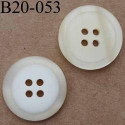 bouton 20 mm couleur écru brillant et blanc mat 4 trous diamètre 20 mm