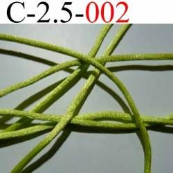 cordon queue de rat en satin  brillant couleur vert anis diamètre 2.5 mm très solide prix du mètre