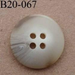 bouton 20 mm couleur beige marbré 4 trous diamètre 20 mm